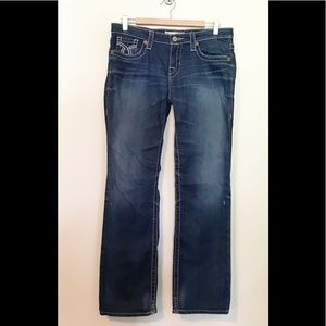 Big Star Miki Mid Rise boot distressed jeans 28